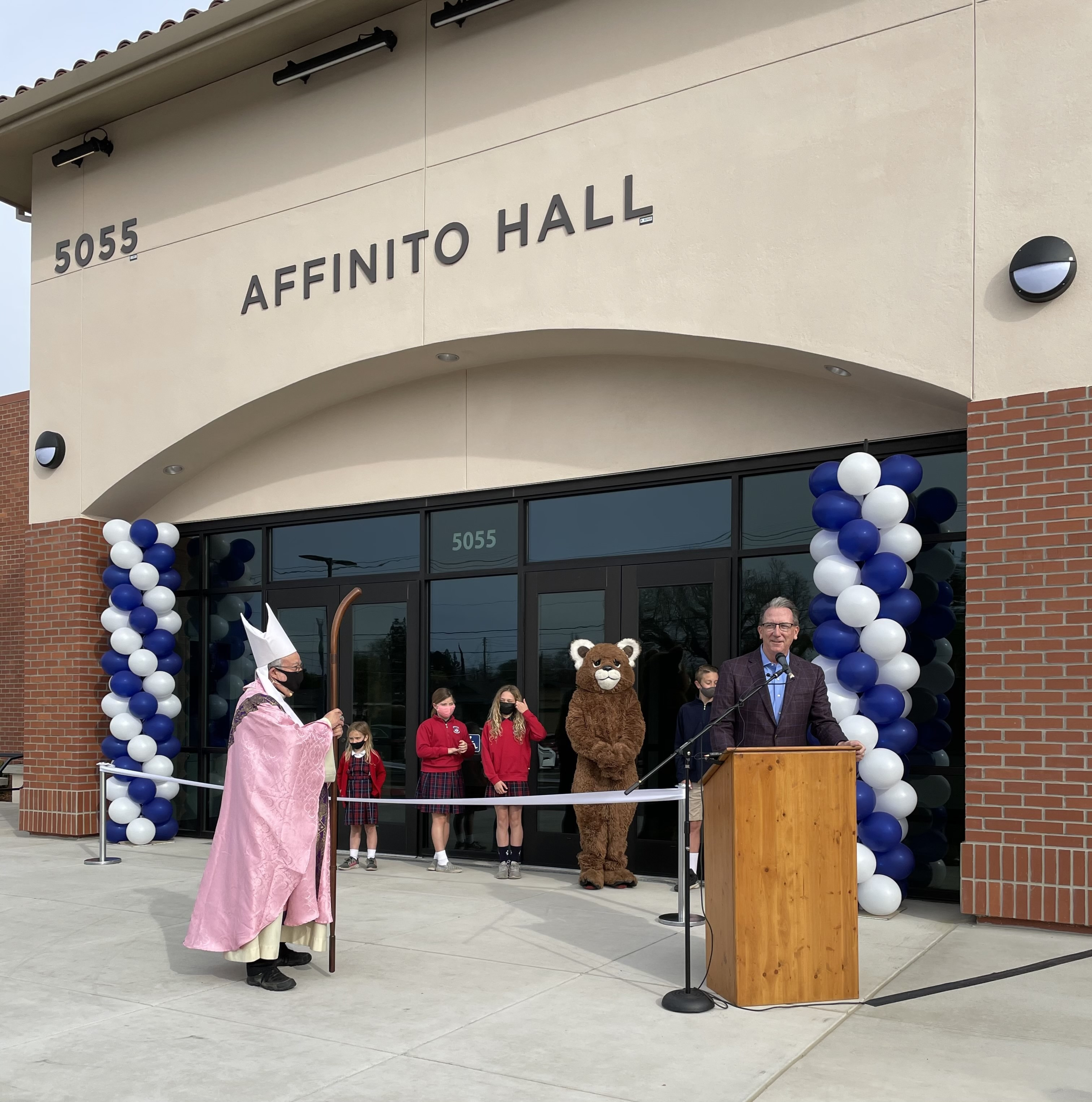 Kelly Brothers welcomes everyone to the dedication of Affinito Hall.