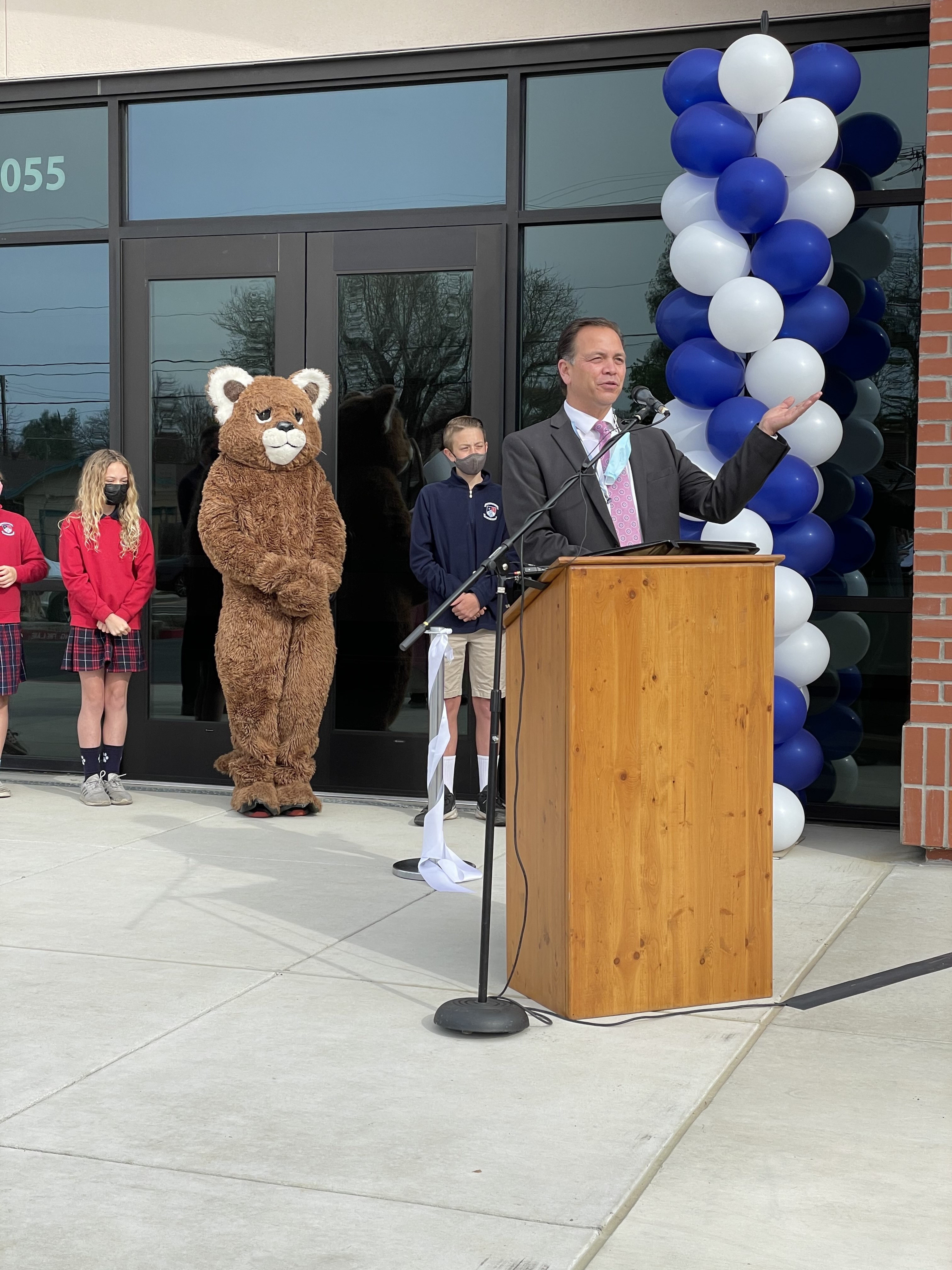 OLA School Principal Robert Love speaks before the dedication.