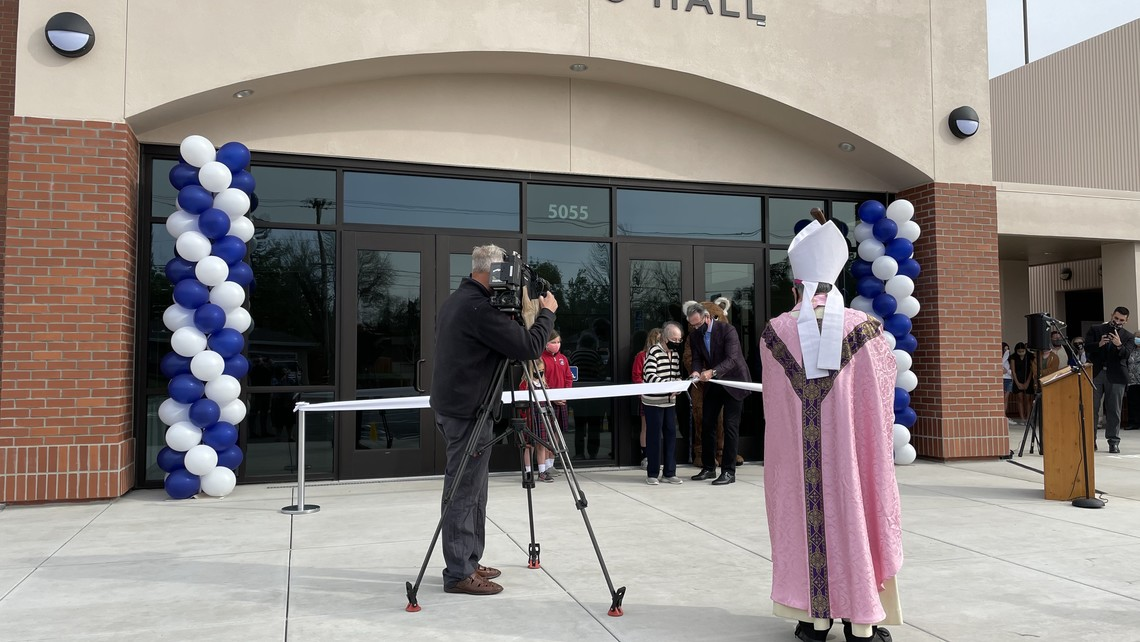 Nancy Affinito cutting the ribbon for Affinito Hall.